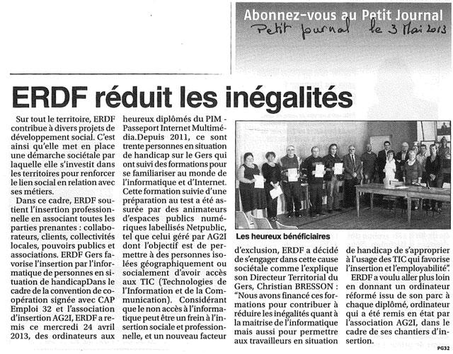 LE PETIT JOURNAL DE NOGARO. ERDF réduit les inégalités